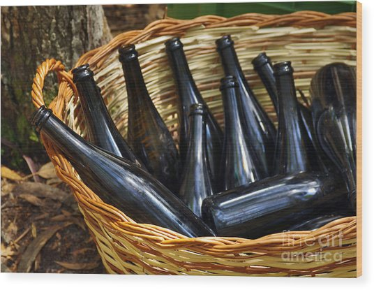 Basket With Bottles Wood Print