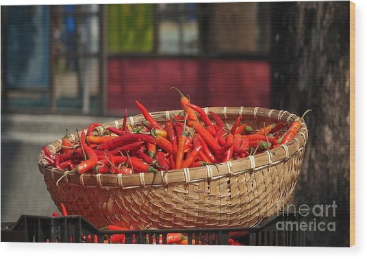 Basket With Red Chili Peppers Wood Print