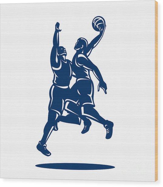 Basketball Player Dunk Block Retro Wood Print by Aloysius Patrimonio