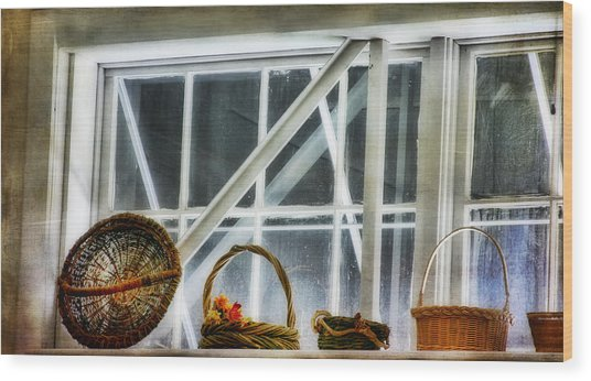 Baskets In The Window Wood Print