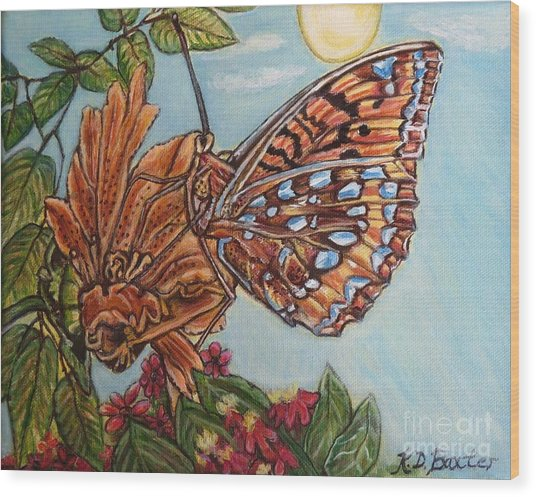 Basking In The Warmth Of The Sun In A Tropical Paradise Painting Wood Print
