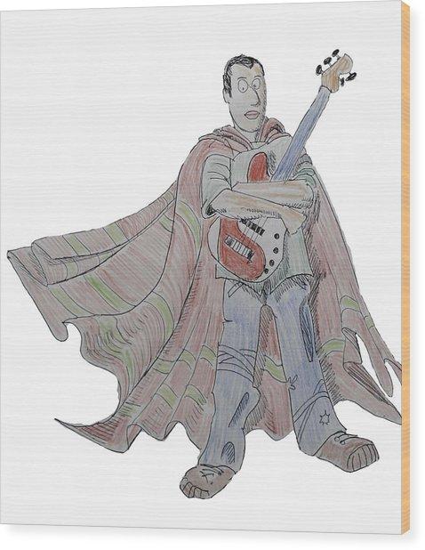 Bass Guitarist Cartoon Wood Print