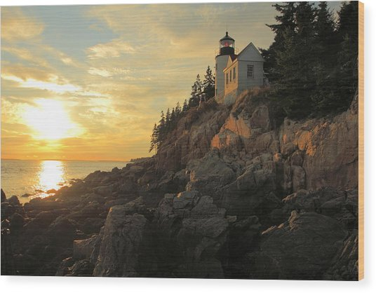 Bass Harbor Head Lighthouse Maine Usa Wood Print