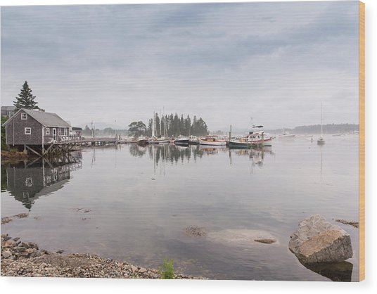 Bass Harbor In The Morning Fog Wood Print
