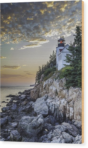 Bass Harbor Light House Wood Print