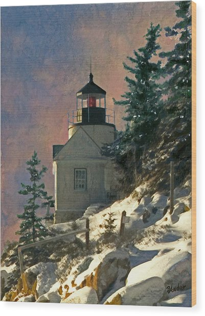Bass Harbor Light In A Winter Storm Wood Print