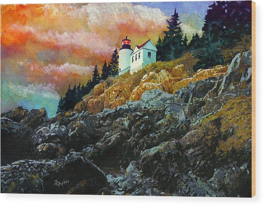 Bass Harbor Lighthouse Sunset Wood Print