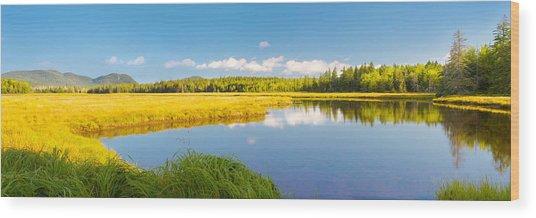 Bass Harbor Marsh Panorama Acadia National Park Photograph Wood Print