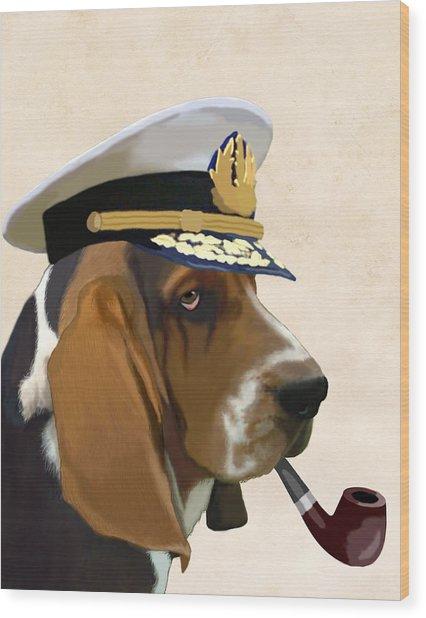 Basset Hound Seadog Wood Print by Kelly McLaughlan