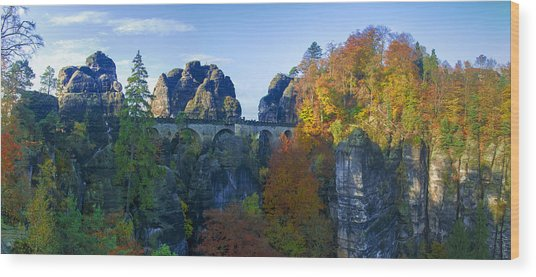 Bastei Bridge In The Elbe Sandstone Mountains Wood Print