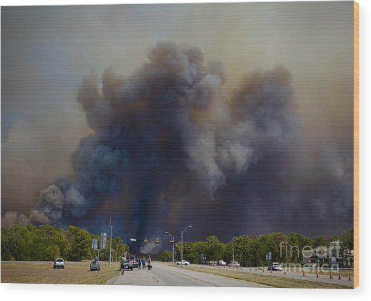Bastrop Burning Car Explosion Wood Print