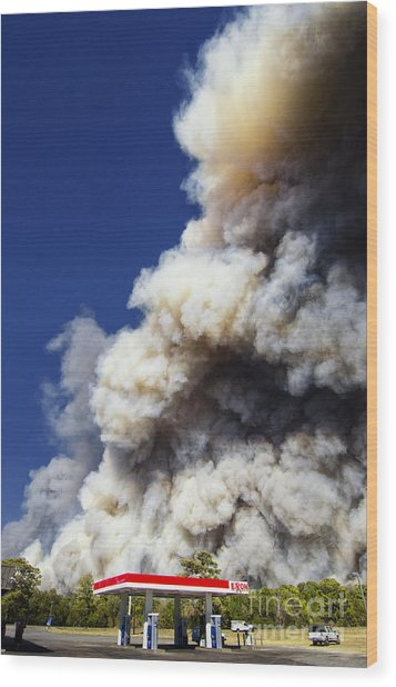 Bastrop Burning Exxon Wood Print