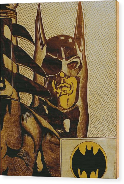 Bat Man Wood Print
