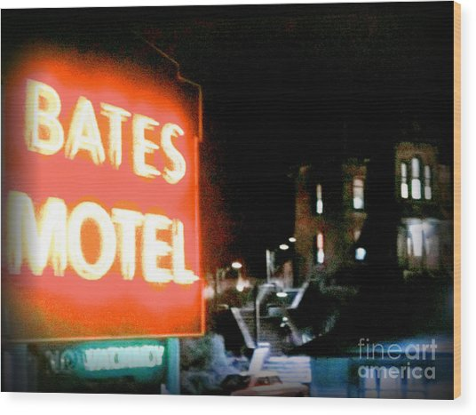 Bates Motel Vacancy Wood Print