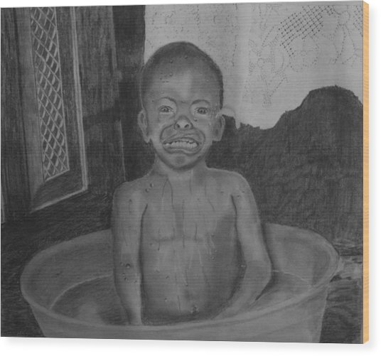Bath-time Tears Wood Print