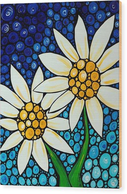 Bathing Beauties - Daisy Art By Sharon Cummings Wood Print