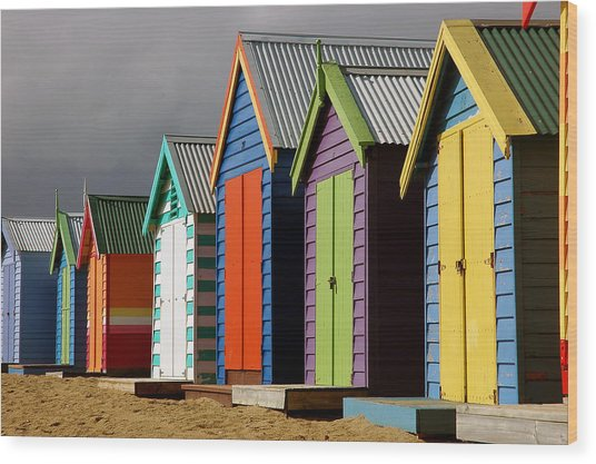 Bathing Huts Wood Print