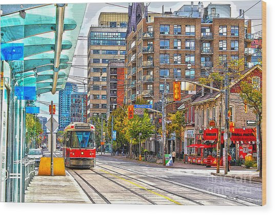 Bathurst Street Car Coming North To Queen Street Wood Print