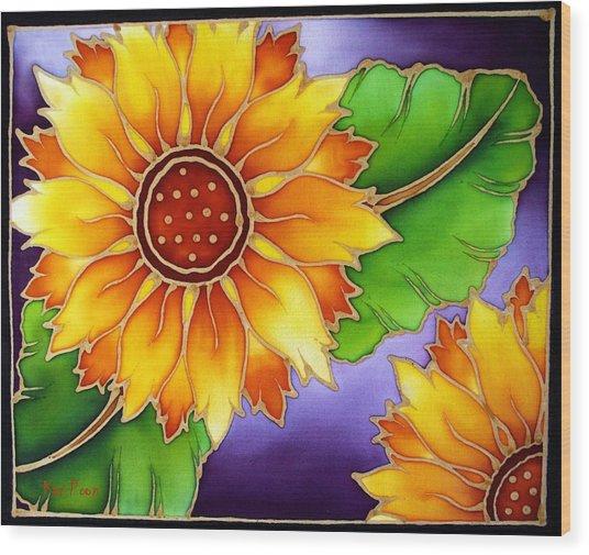 Batik Sunflower Wood Print by Kat Poon