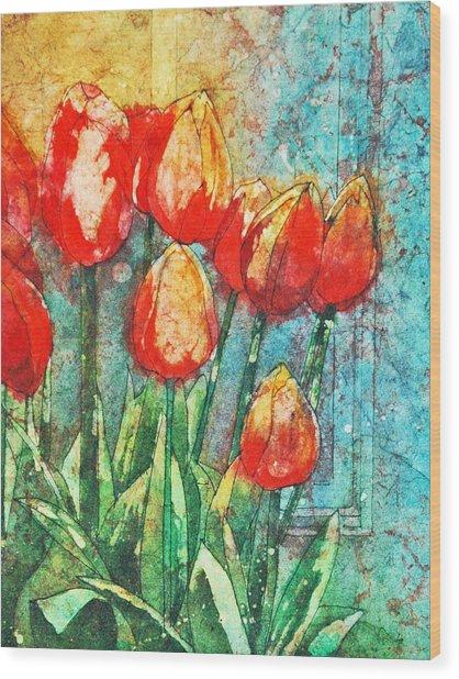 Batik Tulips Wood Print