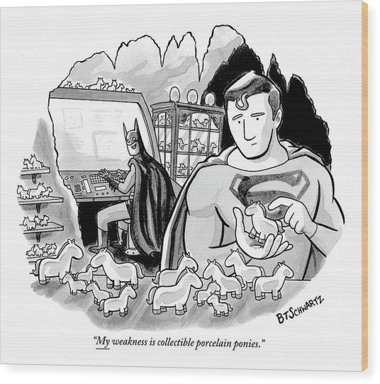 Batman And Superman In Batcave Looking At Small Wood Print