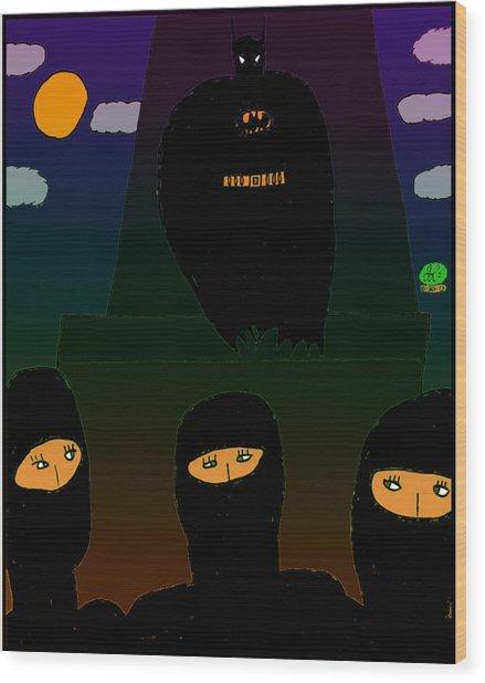 Batman-nocturnal E Wood Print by John Lavernoich