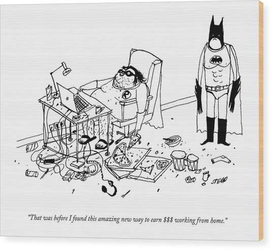 Batman Stands In The Filthy Room Of A Fat Wood Print