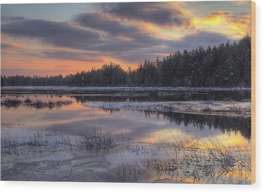 Batsto Lake Sunset 2 Wood Print