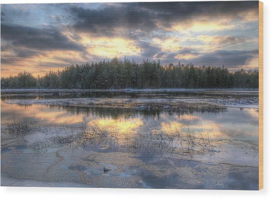 Batsto Lake Sunset1 Wood Print