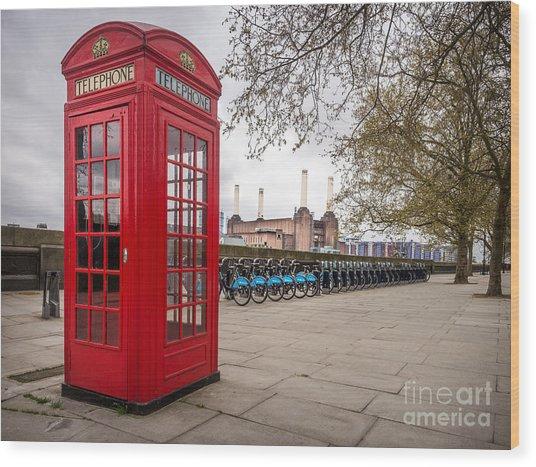 Battersea Phone Box Wood Print