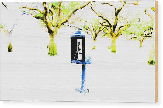 Battery Payphone Wood Print by Philip Zion