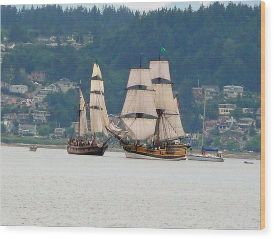 Battle At Sea Wood Print