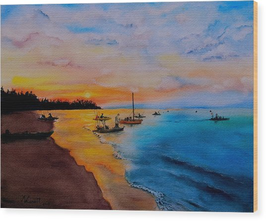 Battle In The Bahamas Wood Print by Martine Wardill