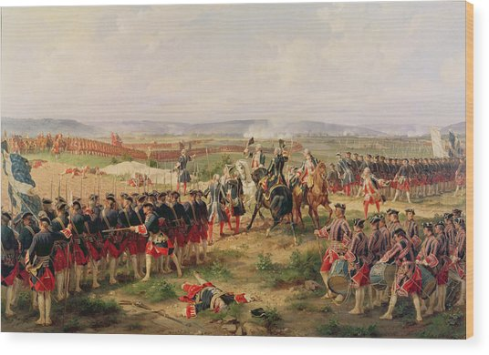 Battle Of Fontenoy, 11 May 1745 The French And Allies Confronting Each Other Wood Print