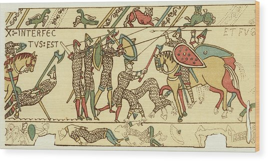 Battle Of Hastings The Battle Rages Wood Print by Mary Evans Picture Library