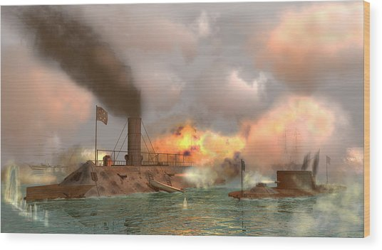 Battle Of The Ironclads Wood Print