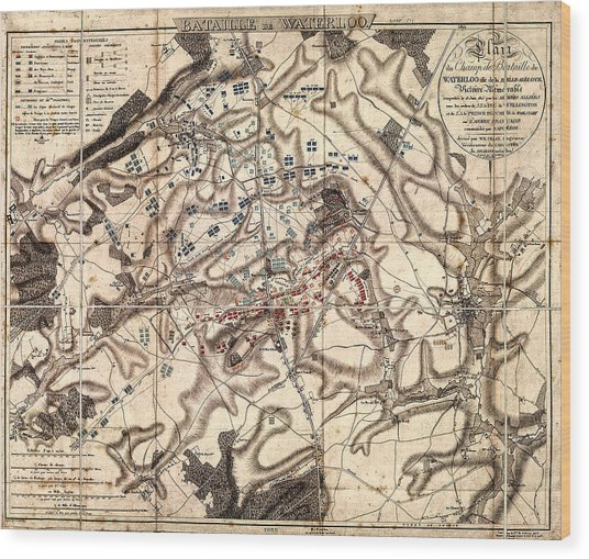 Battle Of Waterloo Old Map Wood Print