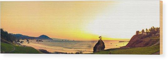 Battle Rock Panoramic Wood Print
