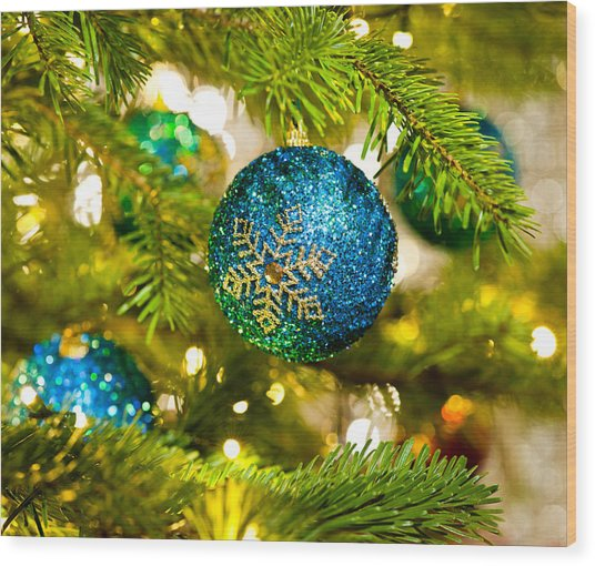 Bauble In A Christmas Tree  Wood Print