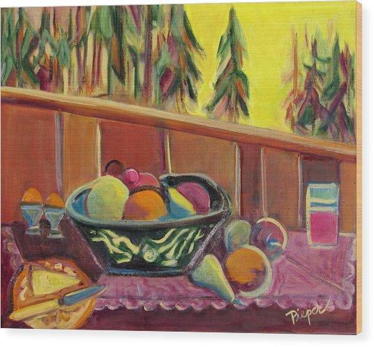 Bavarian Breakfast With Strawberry Milk Wood Print