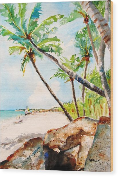 Bavaro Tropical Sandy Beach Wood Print