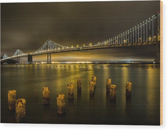 Bay Bridge And Clouds At Night Wood Print