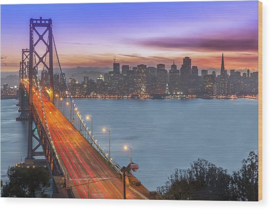 Bay Bridge And San Francisco Skyline At Wood Print by Spondylolithesis
