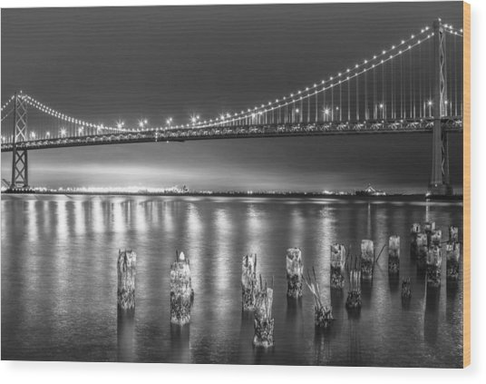 Bay Bridge Black And White Wood Print