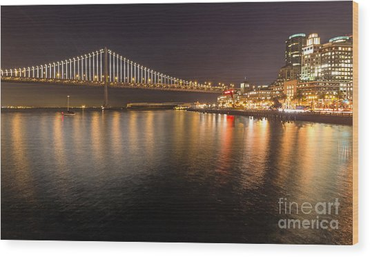 Bay Bridge Lights And City Wood Print
