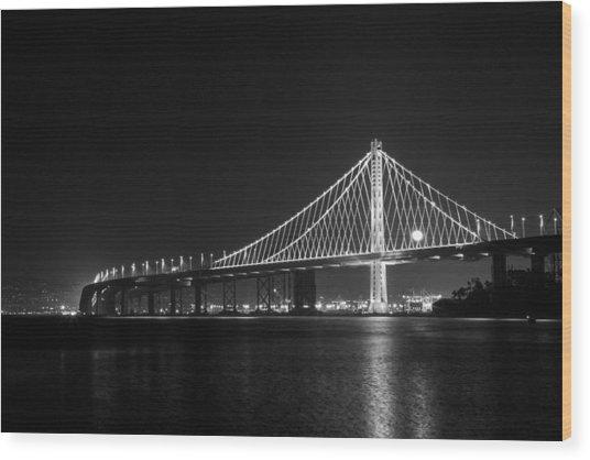 Bay Bridge Moon Wood Print