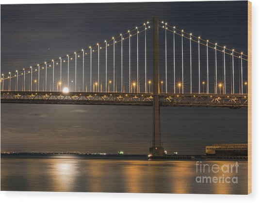Bay Bridge Moon Rising Wood Print