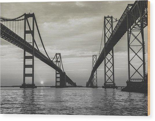 Bay Bridge Strong Wood Print