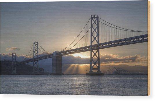 Bay Bridge Sunrise Wood Print