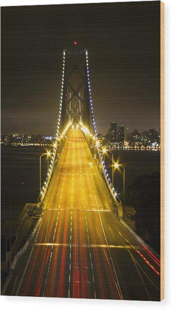 Bay Bridge Traffic Wood Print